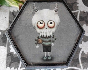 Hand decorated wooden box. Creepy cute Leopold the demon boy. Hand painted and decorated. Gothic box with own illustration decoration.
