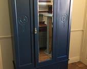 Satin carved mirror door wardrobe refurbished in railings