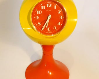 Estyma bright orange and yellow space age style alarm clock – original from the 1960s
