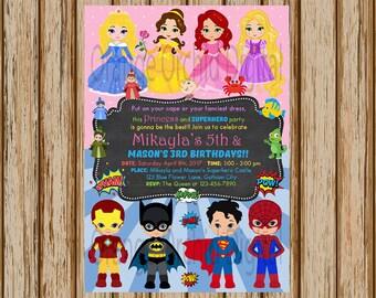 "Princess And Superhero Birthday Invitations- Princess and Superhero Birthday Party- Sibling Birthday Invitations- 5"" x 7"" size- Digital"