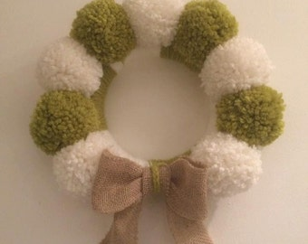 Pompom Christmas Wreath handmade