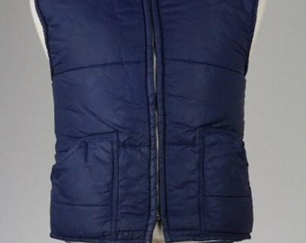 ON SALE Vintage 80s Navy Puffy Quilted Ski Vest Mens M