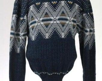 ON SALE Vintage 80s Navy Acrylic Cosby Geometric Sweater XL