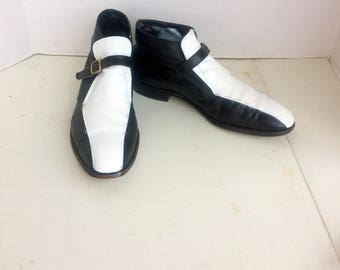 FLORSEIM IMPERIAL,vintage men black and white leather ankle boots sz 11 B