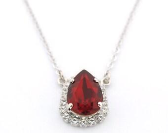 Rhinestone pendant - teardrop pendant - ruby pendant - pear drop necklace - Christmas pendant - crystal pendant - Swarovski crystal