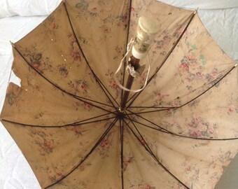 1920s floral sun umbrella with portrait on bone handle