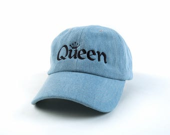 Queen Hat, Queen Dad Hat, Queen Baseball Cap, Denim Hat, Embroidered Baseball Cap, Adjustable Strap Back Baseball Cap, Low Profile