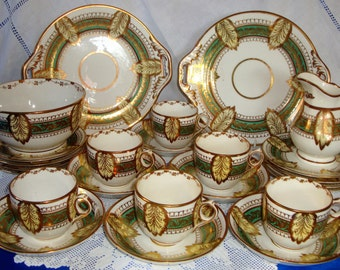 ANTIQUE Hand Painted Richly GIlded Tea Set Victorian