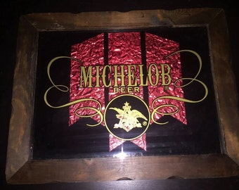 """1970 Michelob Framed Mirror Scalloped Frame 19""""x15"""""""