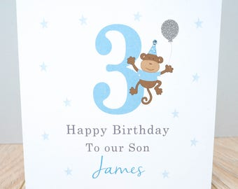 Personalised Monkey Birthday Card - Personalised Boys Birthday Card - 1st Birthday Card - 2nd Birthday Card, 3rd Birthday Card