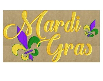 Mardi Gras w Fleur de Lis Embroidery Design - EMBROIDERY Design FILE - Instant download - 2 sizes - Dst Hus Jef Pes Vp3 Exp formats