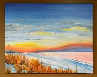 Seascape Painting, Large Wall Art Original on Canvas, Beach Sunrise, Beach Painting Decor, Fine Art Modern Painting - Daybreak