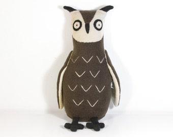 "Stuffed Owl bird. Plush owl. Brown owl. Soft brown toy owl, eagle-owl, bird named ""Fredrik"". Softy kind and smart bird. Soft owl for hugging"