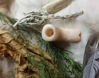 OOAK Pink Alabaster Personal Pipe - Hand Carved and Waxed Stone Pipe - Mostly White With Some Visible Veins - 2.125 Inches Long. Spirit Spot