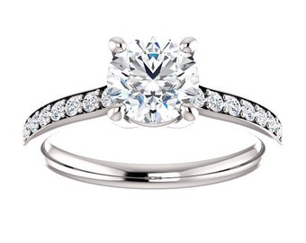 14K White Gold No Halo Simple Diamond Engagement Ring - Forever One Moissanite - Petite Ring - Affordable Ring - Bridal Set