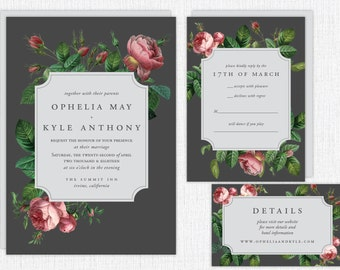Custom Botanical Wedding Invitation