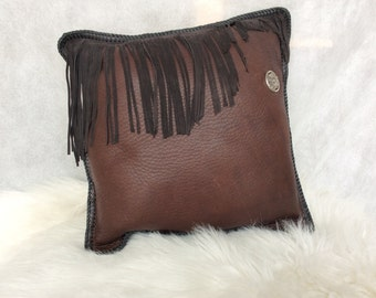 Genuine Leather Decorative Throw Pillow