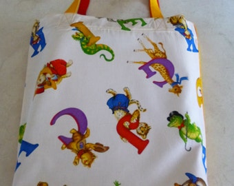 Library Bag.   Alphabet  Animals design with yellow  backing.