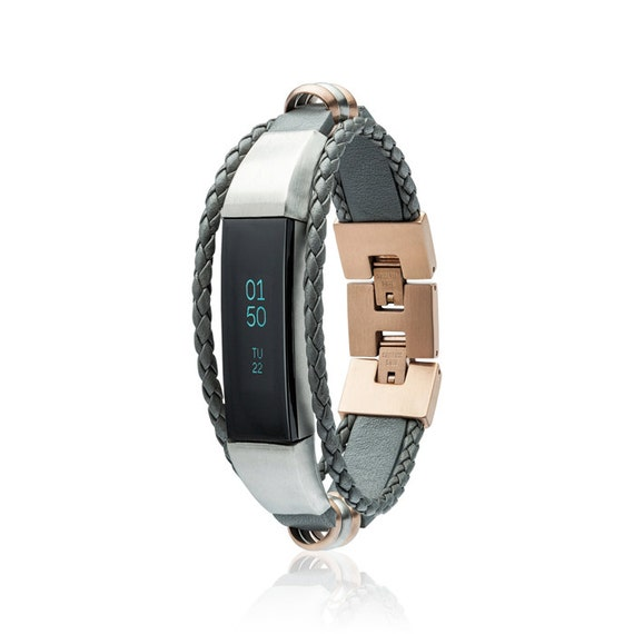 Bracelet Aurel - Grey / Rose Gold - for Fitbit Alta - Alta HR - Jewelry -Stainless steel and real leather
