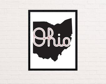 Script Ohio Printable Art - Ohio State - Instant Download - Digital Print - Ohio State Buckeyes