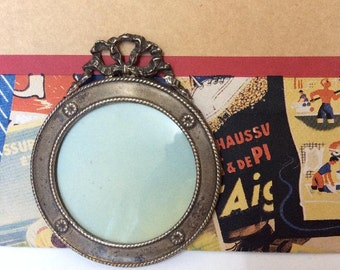 Small Old French Ornate Silverplated Picture Frame,Wall Hanging frame.c1920