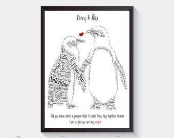 Personalised Cute Valentines Day Boyfriend and Girlfriend Word Art DIGITAL FILE
