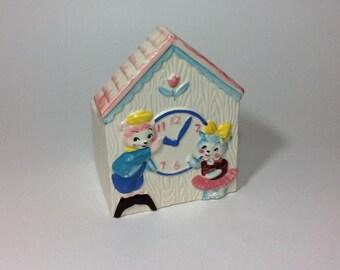 Vintage Relpo Teddy Bears Clock House Ceramic Planter Baby Shower Gift Nursery Decor