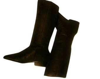 Women's Boots, tall boots, knee high boots, riding boots, brown boots, leather boots, low heel boots, vintage boots | Worthington | 7 M