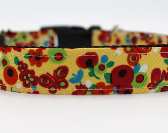 Feminine Yellow Floral Dog Collar, Flower and Butterfly Dog Collar, Girl Dog Collar, Large Dog Collar, Girlie Dog Collar, Custom