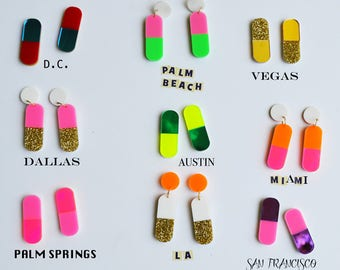 Happy Pills Statement Earrings- The City Collection