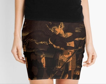 Satanic Massacre skirt with elastic stretch waistband