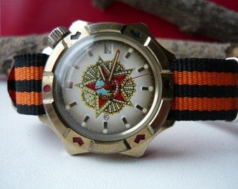 """Vintage wostok wrist watch """"Red star USSR Pobeda"""" / men's watch Vostok / military Soviet watch / Mechanical watch / komandirskie vostok"""