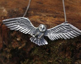 Barn Owl Pendant- Sterling Silver