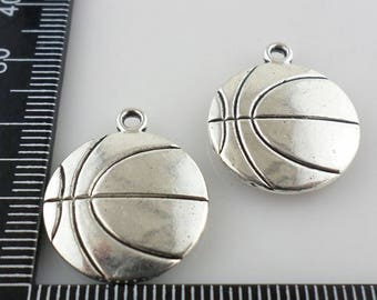 2/8/60pcs Tibetan Silver Oblate Basketball Charms Pendants For Jewelry Making