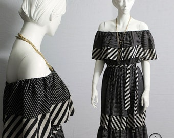 80s Dress, Black White Dress, Boho Dress, Sundress, Vintage 80s Dress, Off the Shoulder Dress, Stripes Dress, Boho Style, Monochome, Size S,