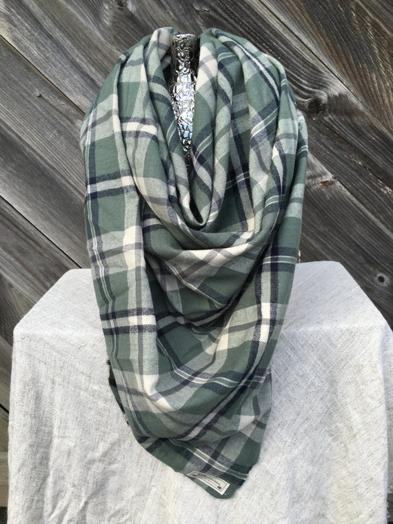 Green and navy Plaid Blanket Scarf with leather detail