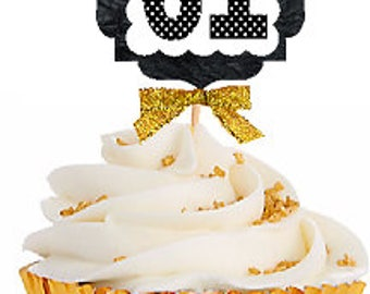 61st Birthday / Gold Ribbon with Polka Dot Numbers Cupcake Picks / Toppers -12ct.