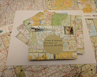 10 Upcycled Envelopes made from used maps (Size: A2 (4.25 x 5.5 inches))