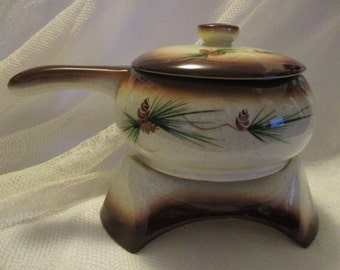 Vintage RomCO Rocky Mountain Pottery Pine cone candle heated crock dish on stand