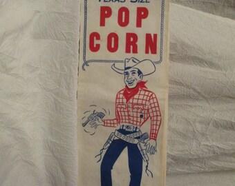 Set of 18 Vintage Large Texas Sized Popcorn bags With Cowboy image Ephemera
