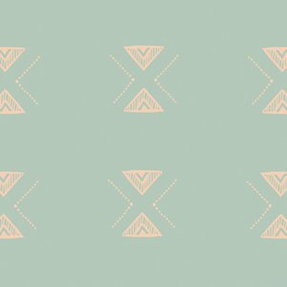 Changing Pad Cover >> Garden Dreamer Triangular in Mint >> Made-to-Order >> seafoam changing pad, mint triangle changing pad, boho changing