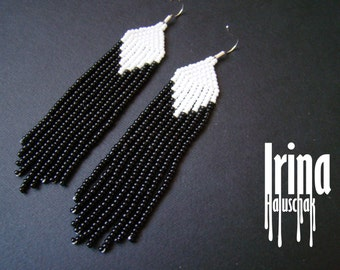 Fringe earrings,Beaded earrings, seed bead earrings, modern earrings, boho earrings beadwork jewelry, minimalistic earrings, black and white