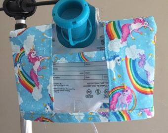 Rainbow unicorn Infinity Pump Bag Cover- Feeding Tube-Tubie-GTube Feeding Cover-JTube Feeding Bag Cover
