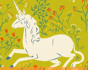 FQ - Far Far Away by Heather Ross for Windham Fabrics - Unicorn in Green - Quilting Cotton Fabric