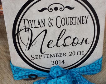 Personalized Tile, Great for Weddings, Anniversaries or just because.