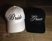 Bride and Groom Hats   Embroidered structured Hats   bride Hat  bride cap  groom hat  groom cap  wedding hats   Set of Wedding Caps