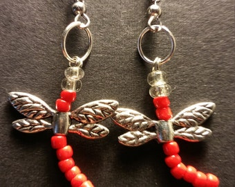 Beaded dragon fly earrings in assorted colors