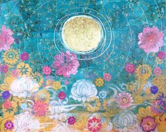 do everything in love, yoga art, lotus art, inspirational lotus painting