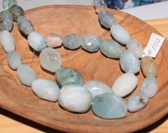 """8"""" Strand of Faceted Graduated Aquamarine Nugget Beads From 14 X 10mm To 20 X 15mm #100"""