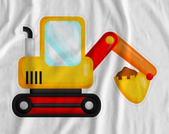 Construction - Digger - Iron On Transfer